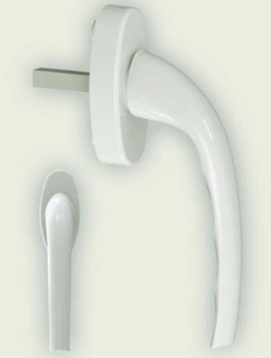 Ручка оконная Gera алюминиевая штифт 37 мм, 2 винта, белая