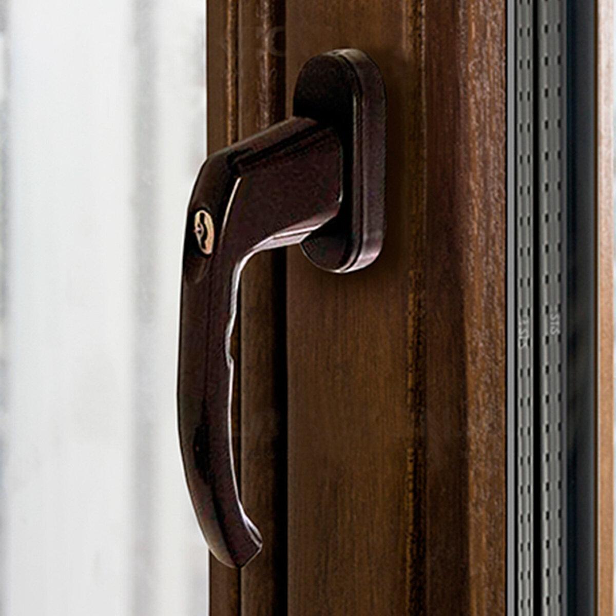 Оконная ручка с замком штифт 35мм, коричневая