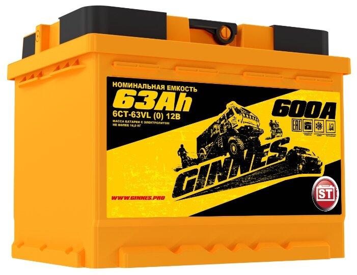 Автомобильный аккумулятор 63 Ач обратная полярность 0 GINNES 6СТ-63.0